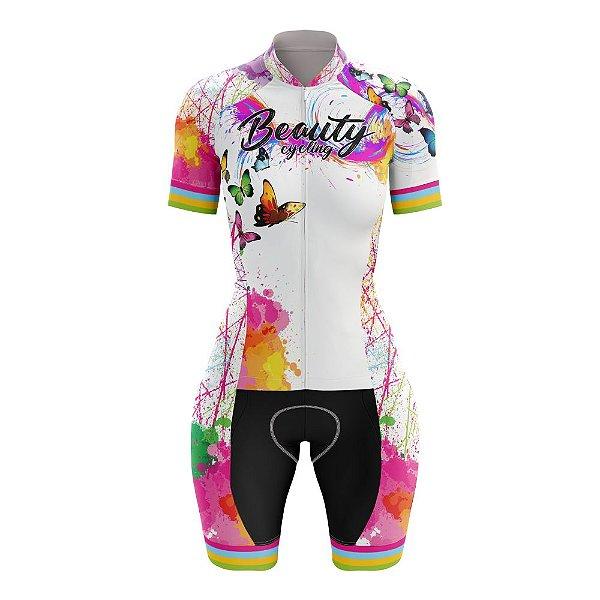 Macaquinho Feminino Ciclismo Beauty Butterfly White