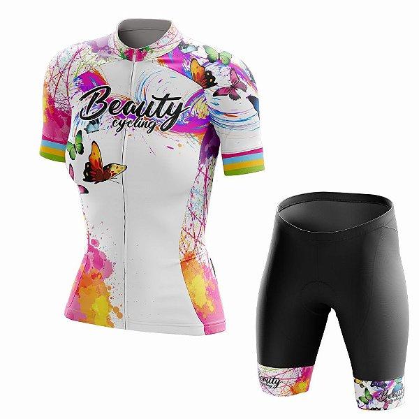 Conjunto Ciclismo Feminino Beauty Butterfly White
