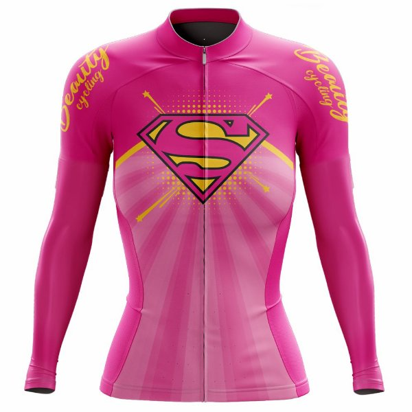 Camisa Feminina Ciclismo Beauty SuperGirl -  Manga Longa