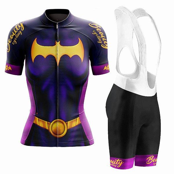 Conjunto Ciclismo Feminino com Bretelle Beauty Batgirl - Manga Curta e Manga Longa