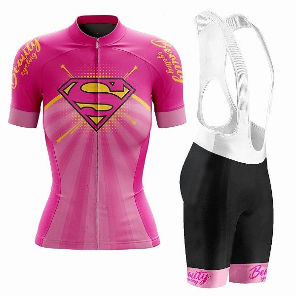 Conjunto Ciclismo Feminino com Bretelle Beauty Supergirl - Manga Curta e Manga Longa