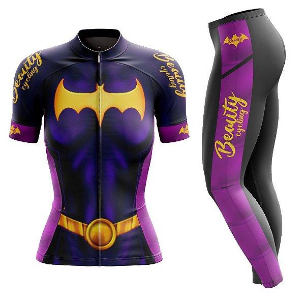 Conjunto Ciclismo Feminino com Calça - Beauty Batgirl - Manga Curta ou Longa