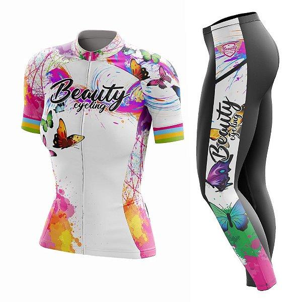 Conjunto Ciclismo Feminino com Calça - Beauty Butterfly White- Manga Curta ou Longa