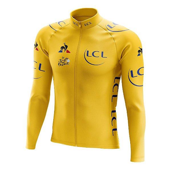 Camisa Manga Longa Ciclismo Tour de France Amarela - Líder