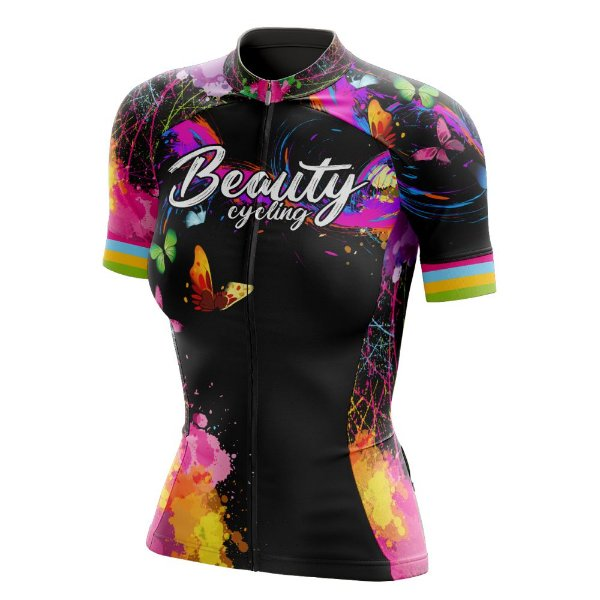 Camisa Feminina Ciclismo Beauty Butterfly Black