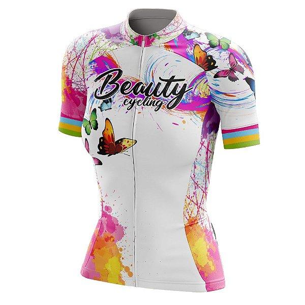 Camisa Feminina Ciclismo Beauty Butterfly White