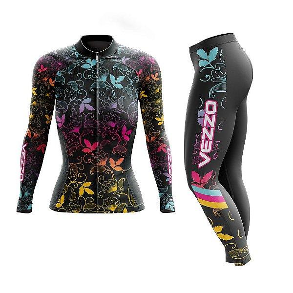 Conjunto Ciclismo Feminino Camisa Manga Longa e Calça - Vezzo Leaf Color
