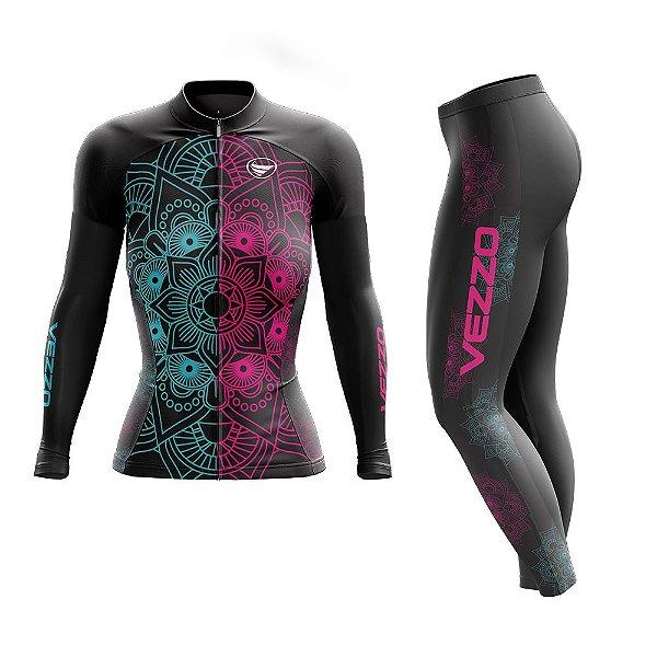 Conjunto Ciclismo Feminino Camisa Manga Longa e Calça - Vezzo Mandala Color