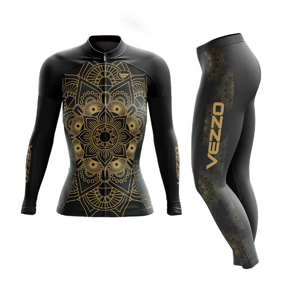 Conjunto Ciclismo Feminino Camisa Manga Longa e Calça - Vezzo Mandala Gold