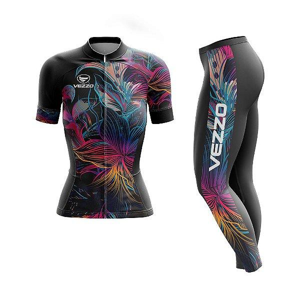Conjunto Ciclismo Feminino Camisa Manga Curta e Calça - Vezzo Abstract