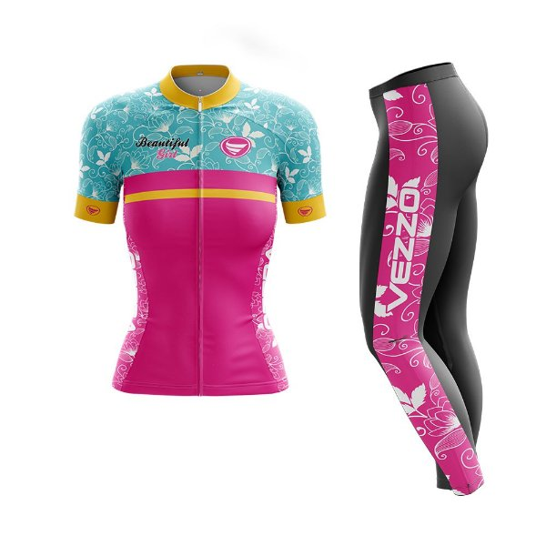 Conjunto Ciclismo Feminino Camisa Manga Curta e Calça - Vezzo Beautifull Ride
