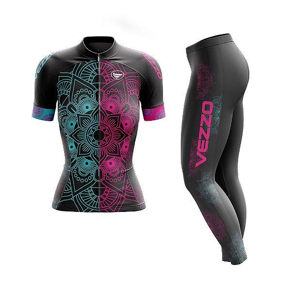 Conjunto Ciclismo Feminino Camisa Manga Curta e Calça - Vezzo Mandala Color