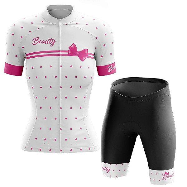 Conjunto Ciclismo Feminino Beauty Vintage Branco