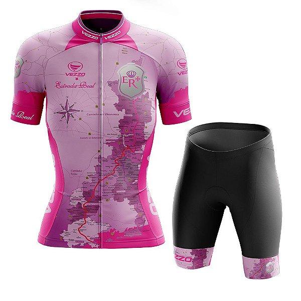 Conjunto Feminino Ciclismo e MTB Vezzo Estrada Real Rosa