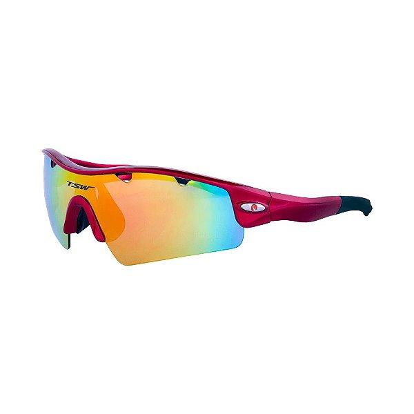 Óculos De Ciclismo TSW ALUX Proteção UV 400 - Vermelho