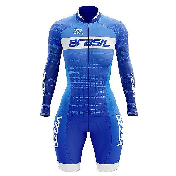 Macaquinho Ciclismo MTB Vezzo Brasil 2019 Azul - LANÇAMENTO