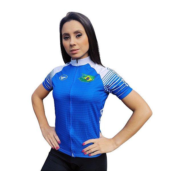 Camisa Ciclotour Feminina Vezzo Brasil Azul - PROMOÇÃO