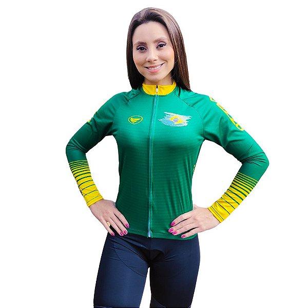 Camisa Ciclotour Feminina  Vezzo Brasil Verde - PROMOÇÃO
