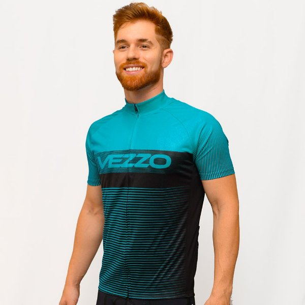 Camisa Vezzo Ciclotour Masculino Lightning Aqua