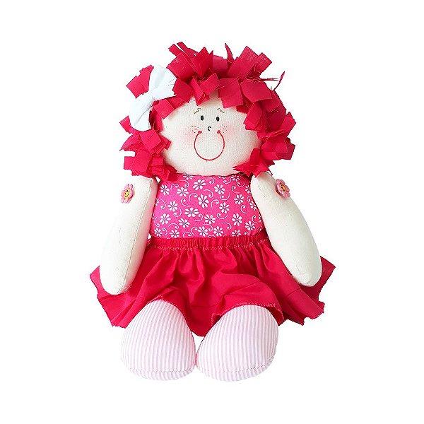 Boneca de Pano Vestido Pink Floral