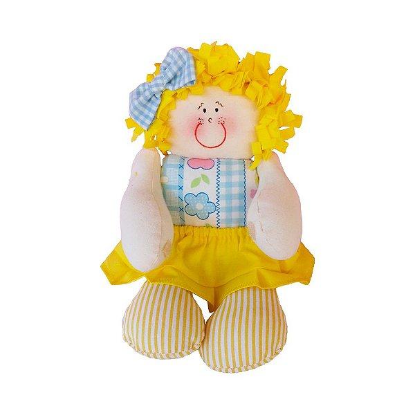 Boneca de Pano Vestido Amarelo Florido