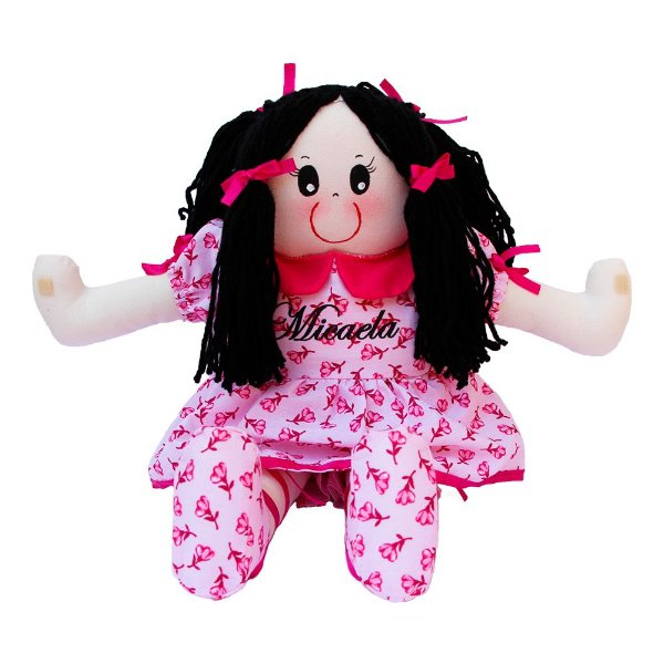 Boneca de Pano Vestido Rosa Flores