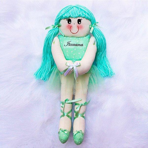 Boneca de Pano Bailarina Verde