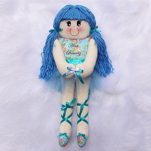 Boneca de Pano Bailarina Azul