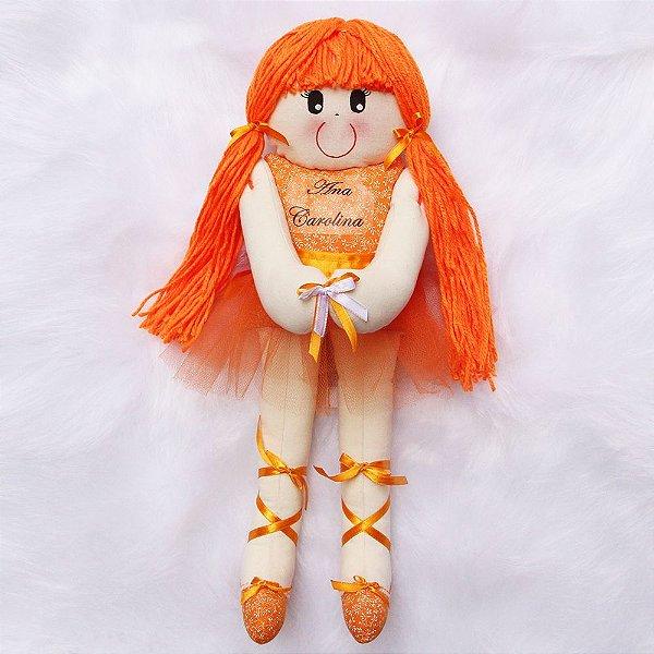 Boneca de Pano Bailarina Laranja
