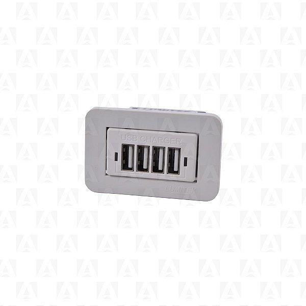 Tomada USB Charger 4 Saidas Branco