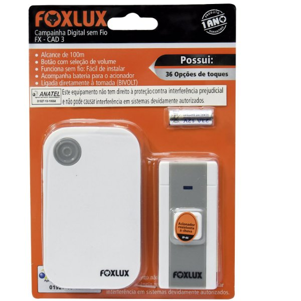 Campanhia Digital Sem Fio Resistente A Chuva Foxlux Bivolt