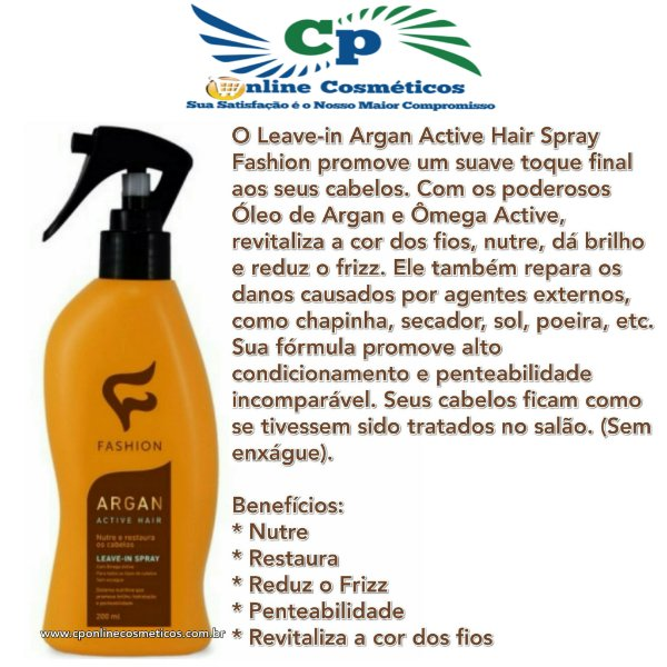 Finalizador Spray Leave-in Argan Active Hair Fashion 200 ml