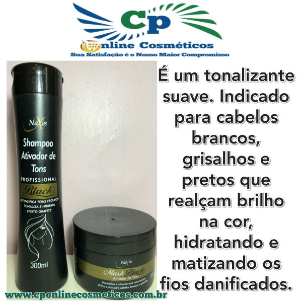 Kits Matizador Black Shampoo 300ml + Mascara 250g - Ativador De Tons - Naxos