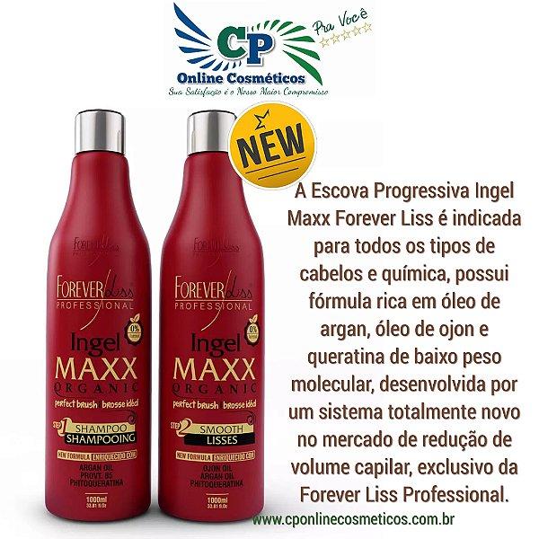 kit Escova Progressiva Ingel Maxx 2x1l - Sem Formol - Forever Liss