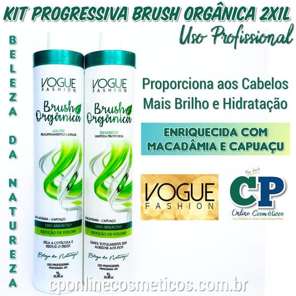 kit Escova Progressiva Brush Orgânica Sem Formol 2x1 Litro - Vogue Fashion