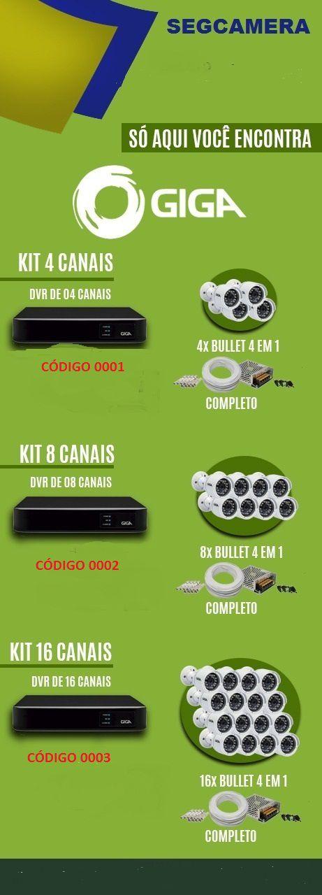 Kit Câmera HD Giga de 4 - 8 - 16 Canais