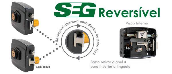 Fechadura SEG 12V Reversível Cinza 45mm.