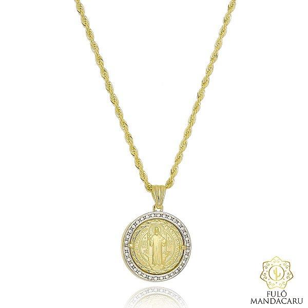 Cordão baiano em zircônias folheado em ouro 18k e aplique de ródio ... e3d11bd47c