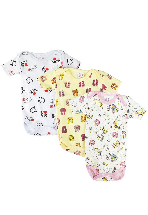 Kit Body Bebê Estampado - 3 peças Meninas