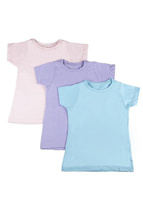 Kit Blusa Infantil Menina Básica - 3 pçs Azul claro