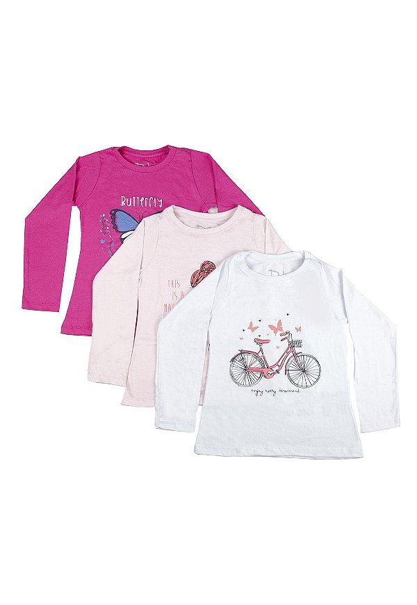 Kit Blusa Infantil Menina com Estampa - Pink