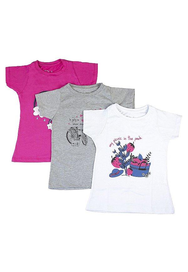 Kit Blusa Infantil Menina com Estampa - Branco