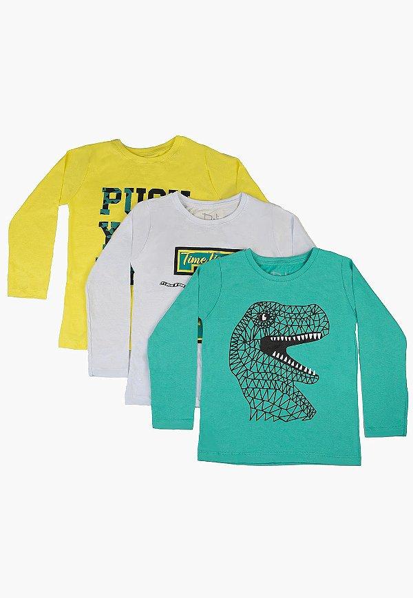 Kit Camiseta Infantil Menino com Estampa - Branco