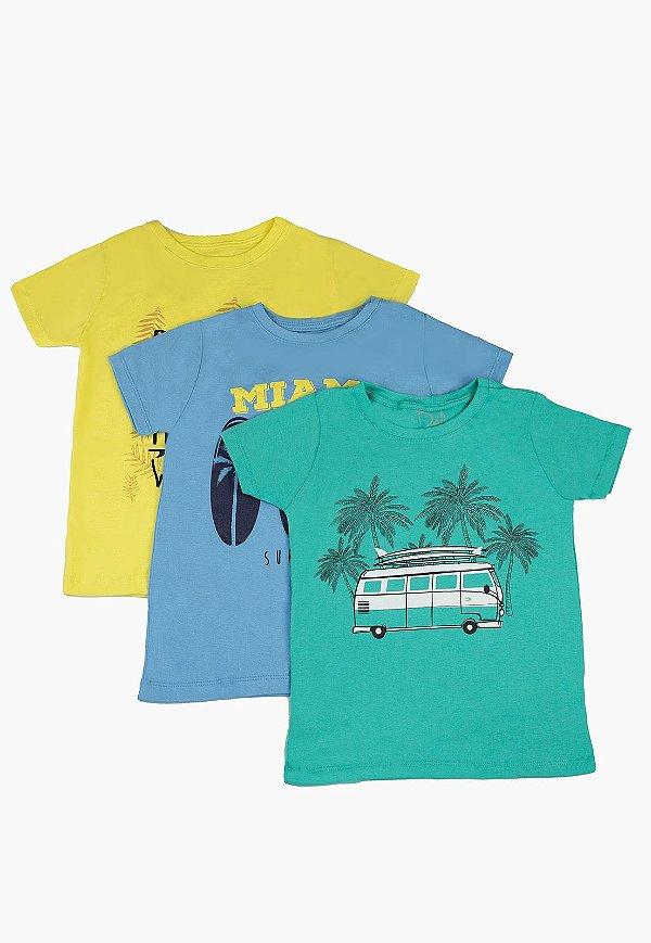 Kit Camiseta Infantil Menino com Estampa - Verde