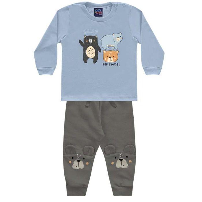 Conjunto Moletom Bebê Calça Peluciado Camiseta Malha Ursinhos Positano Kiko e Kika