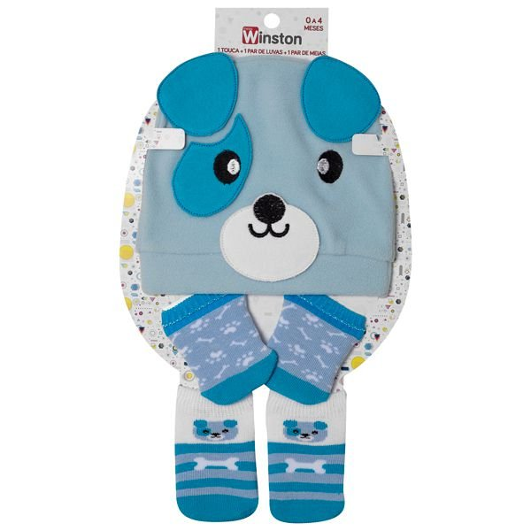 Kit Fun Socks Touca Meias Luvas Cachorrinho Azul