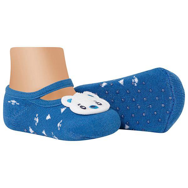Meia Sapatilha Bebê Antiderrapante Ursinho Azul