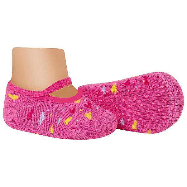 Meia Sapatilha Bebê Antiderrapante Corações Pink