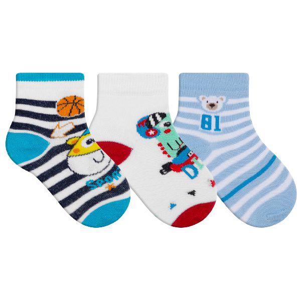 Kit 3 Meias Bebê Infantil Ursinho Listras Azul