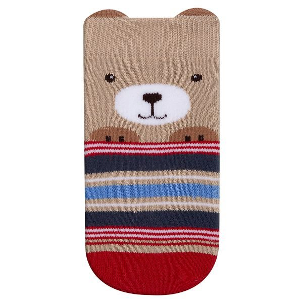 Meia Bebê Infantil Fun Socks Carinho Ursinho Bege Listras